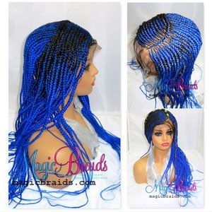 Blue braided lace closure wig, hand made, long
